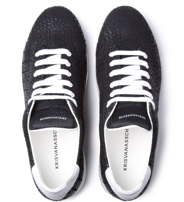 KRISVANASSCHE Black Crocodile Pattern Low Sneakers