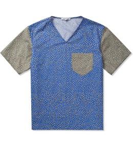 CARVEN Royal Blue Poplin Print Little Dots Shirt Picture