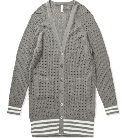 Munsoo Kwon Grey Hole Punch Long Cardigan Picture
