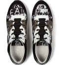 McQ Alexander McQueen Optic White MCQ Leather Text Stripe Print Runners