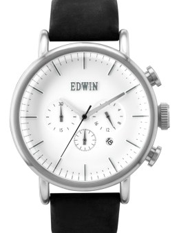 EDWIN Watch Silver With Black Leather Band Element Picture