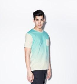 Aloye White/Light Blue AY024-01 Gradation Print S/S T-Shirt Picture
