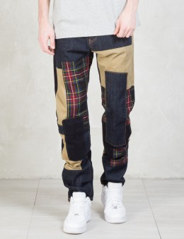 MOSTLY HEARD RARELY SEEN Patchwork Stright Fit Jeans Picture