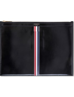 THOM BROWNE Calf Leatehr Medium Zipper Document Holder (A4) with Printed RWB Stripe Picture