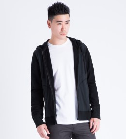 REIGNING CHAMP Black RC-3279 Hybrid Stretch Nylon/Lightweight Terry Zip Front Hoodie Picture
