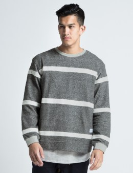 "MAGIC STICK Heather Grey ""Alex"" Border Sweater Picture"