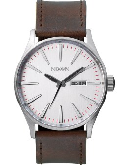 Nixon Silver/Brown Sentry Leather Watch Picture