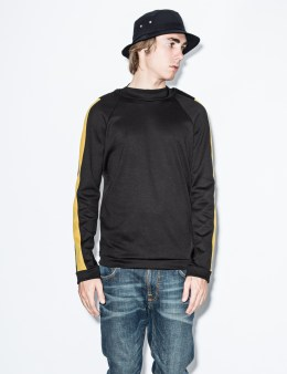 Nicklas Kunz Black Dominic Crewneck Sweater with Suede Detail Picture
