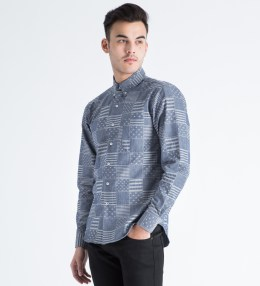 Naked & Famous Indigo Stars & Stripes Jacquard Regular Shirt Picture