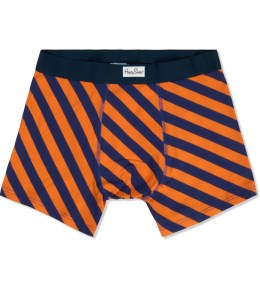 Happy Socks Orange/Navy Polka Stripe Boxer Briefs Picture