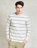 Saturdays Nyc White James Marled Striped Pocket T-shirt Picutre