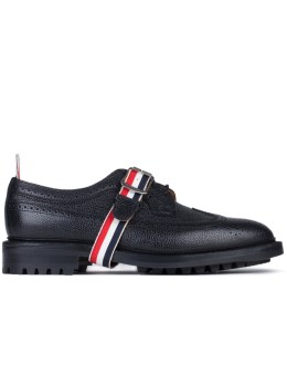 THOM BROWNE Pebble Grain Leather Classic Longwing Shoes with Commando Sole & Grosgrain Straps Picture