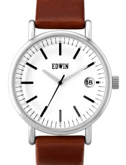 EDWIN Watch White Dial With Brown Leather Band Epic Picture