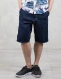 Carhartt WORK IN PROGRESS Rinsed 11oz Denim Ruck Single Knee Shorts Picture