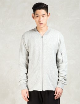 Shades of Grey by Micah Cohen Grey Knit Bomber Jacket Picture