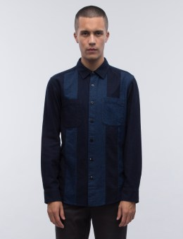 BLUE BLUE JAPAN Indigo Flannel Cutover Shirt Picture