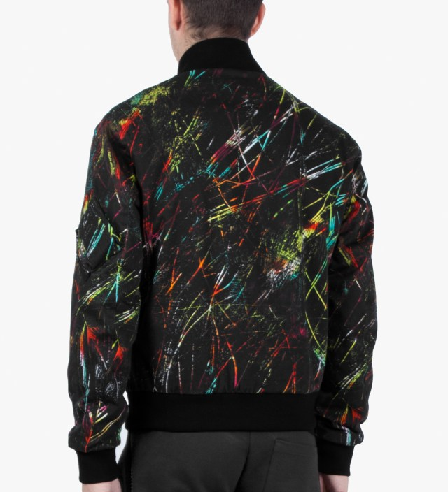McQ Alexander McQueen Black Scratched Printed MA-1 Jacket