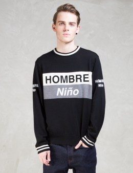 Hombre Nino Black Hombre Nino × Tone Crewneck Sweatshirt Picture