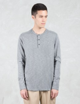 wings + horns 1 X 1 Slub Rib L/S Henley T-Shirt Picture