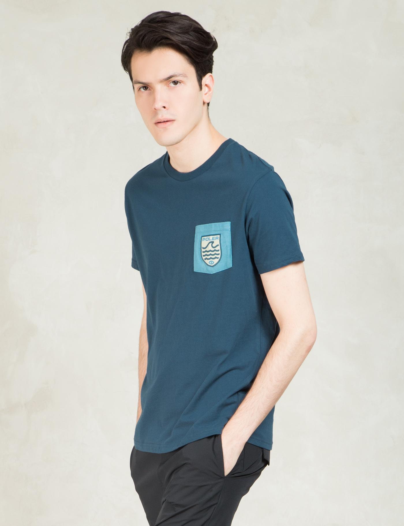 poler blue draplin patches pocket t shirt hbx. Black Bedroom Furniture Sets. Home Design Ideas