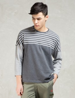 WHIZ Grey L/S Stripe Patch Tee Picture