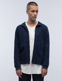 BLUE BLUE JAPAN Indigo Yarn Dyed Sweat Zip Parka Picture