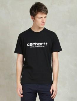 Carhartt WORK IN PROGRESS Black/White S/S Wip Script T-Shirt Picture