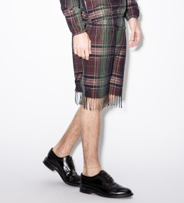 Paul Smith Purple Check Linen-Blend Tasselled Shorts Picture