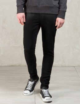 Nudie Jeans Black Shiny Black Skinny Lin Jeans Picture