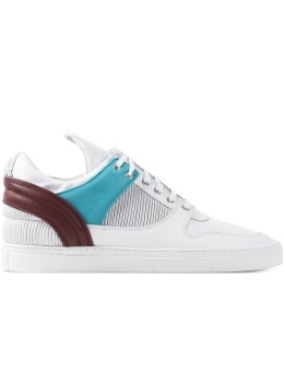 Filling Pieces Red/White/Blue Leather Pleated Low Top Transformed Shoes Picture