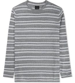 Barney Cools Grey Melange Slub Stripe Knit Sweater Picture