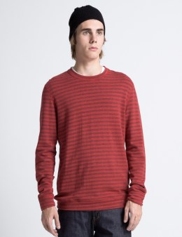 Naked & Famous Red Tonal Stripe Double Knit Slim Crewneck T-Shirt Picture