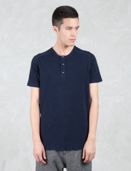 wings + horns 1 X 1 Slub Rib S/S Henley T-Shirt Picture