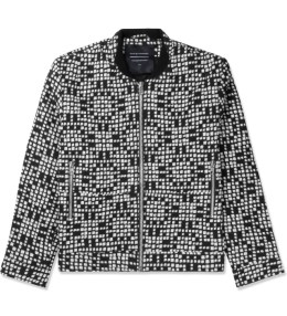 Tourne de Transmission White/Black Ikat Bomber Jacket Picture