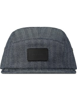 Mister Indigo Denim Camp Cap With Leather Patch Picture