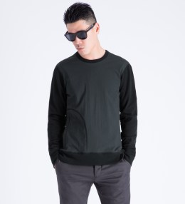 REIGNING CHAMP Black RC-3280 Hybrid Stretch Nylon/Lightweight Terry Crewneck Sweater Picture