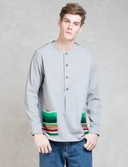 WHIZ Grey L/S Stripe Pocket Henry Shirt Picture