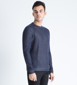 Naked & Famous Navy Vintage Double Face Slim Crewneck Sweater Picture