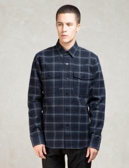 Denham Navy Brushed Flannel Uniform Shirt Picture