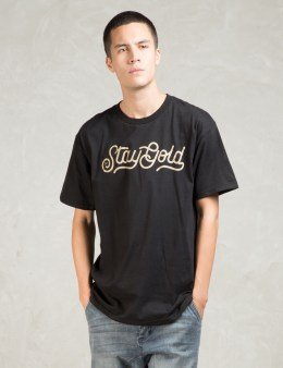 Benny Gold Black Stay Gold Script T-shirt Picture