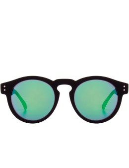 KOMONO Black Rubber Blue/Green Mirror Clement Sunglasses Picture