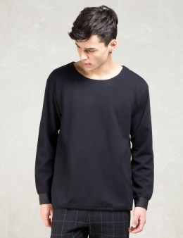 FACTOTUM Black L/S Crewneck Double Face Pullover Picture