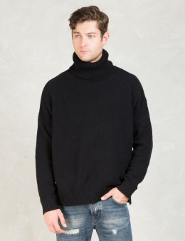 Discovered Black L/S Side Slit Turtle Sweater Picture