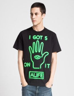 ALIFE Black Alife Neon Green T-Shirt Picture