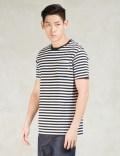 SUNSPEL White/Navy/Haze Placement Stripe Crewneck T-shirt Picture