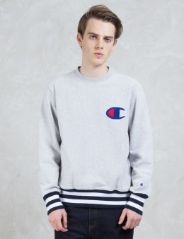Champion Reverse Weave Contrast Ribbed Sweatshirt with Applique Logo Picture