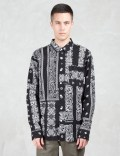 Huf Black Bandana Patchwork L/S Shirt Picture