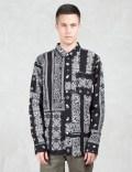 HUF Black Bandana Patchwork L/S Shirt Picutre
