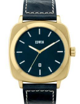 EDWIN Watch Gold With Blue Leather Band Julius Picture