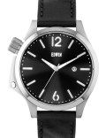 EDWIN Watch Silver With Black Leather Band Brook Picture